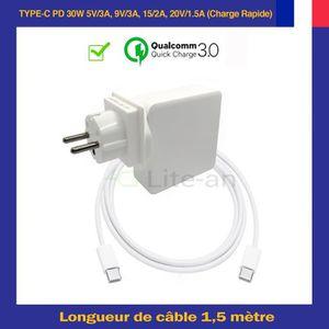 CHARGEUR - ADAPTATEUR  Chargeur USB-C PD 30W Pour Apple MJ262LL-A MacBook