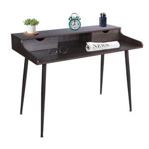 CHAISE DE BUREAU FurnitureR Bureau droit Scandinave en MDF Marron P