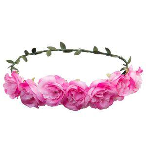 BANDEAU - SERRE-TÊTE Couronne de fleurs roses avec feuilles, féerie fle
