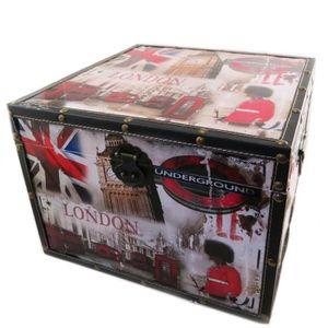 COFFRE - MALLE Malle coffre bois 'So British' rouge bleu blanc -