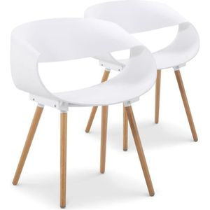 Lot De 2 Chaises Design Scandinave Orbital Blanche Matte Piétement