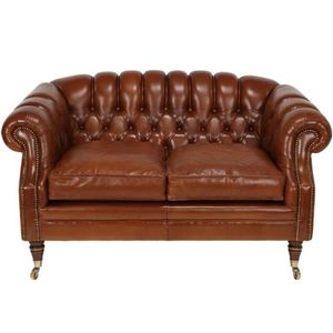 CANAPÉ - SOFA - DIVAN Canapé Marron 2P Chesterfield à Roulettes - COVENT