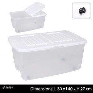 BOITE DE RANGEMENT boite rangement plastique a roullettes 43 litres