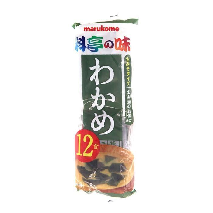 12 soupes miso au algues Wakame 216g Marukome