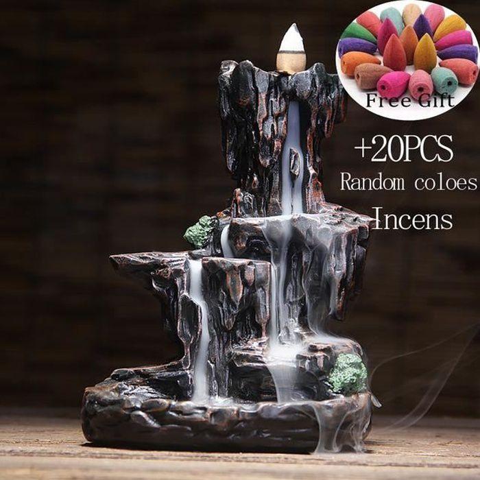 Brûleur d'encens en cascade de montagnes et de rivière, fontaine à reflux, arôme de fumée encensoir, artisanat Unique pour le bureau