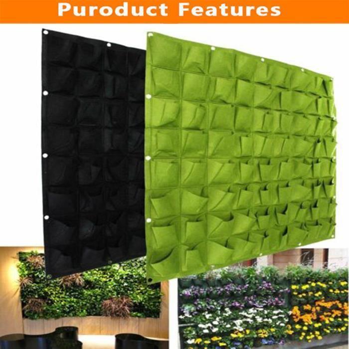 JARDINAGE Woodside 72 Pocket Hanging Wall Vertical Flower Planter Garden Herb Planting Bag WJQ90719196_hgt