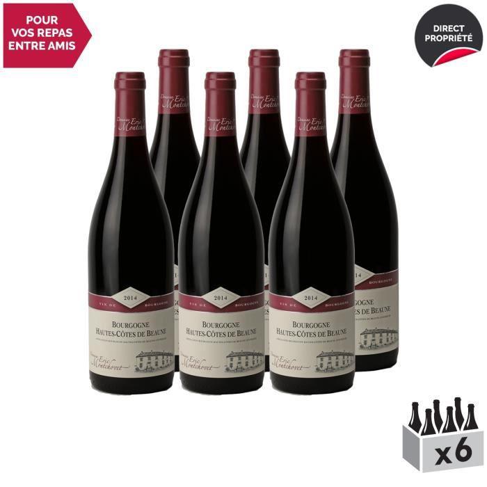 Bourgogne Hautes Côtes de Beaune Rouge 2014 - Lot de 6x75cl - Domaine Eric Montchovet - Vin AOC Rouge de Bourgogne - Cépage Pinot
