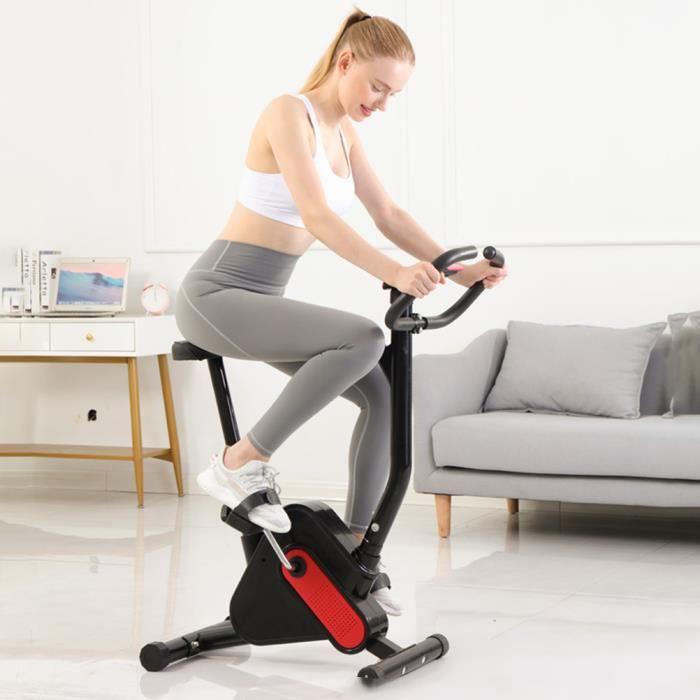TEMPSA Vélo d'appartement Bras Jambes Ecran LED Musculation Entrainement Fitness (Noir rouge)