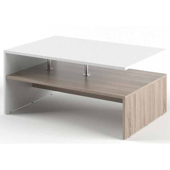 Table basse rectangulaire design scandinave Isidor - L. 90 x H. 42 cm - Couleur bois et blanc