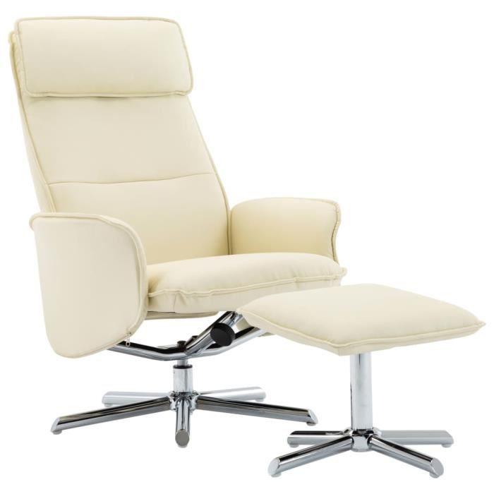 Fauteuil relax inclinable style contemporain confort Fauteuil TV 72 x 82 x 102 cm (L x l x H)- avec repose-pied Crème Similicuir