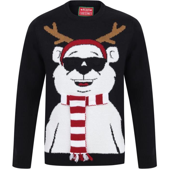 MERRY CHRISTMAS Pull de Noël à Leds Ours Noir Homme