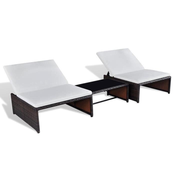 Poly rotin chaise longue Lounge Lot de 2 Chaise longue Meubles de jardin Table Dossier Réglable 1180