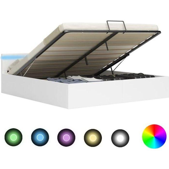 """LUXE""""1015Lit coffre - Cadre de lit à rangement avec LED Design Classique - Lit Double Pour Adulte contemporain Blanc Similicuir 180x"""