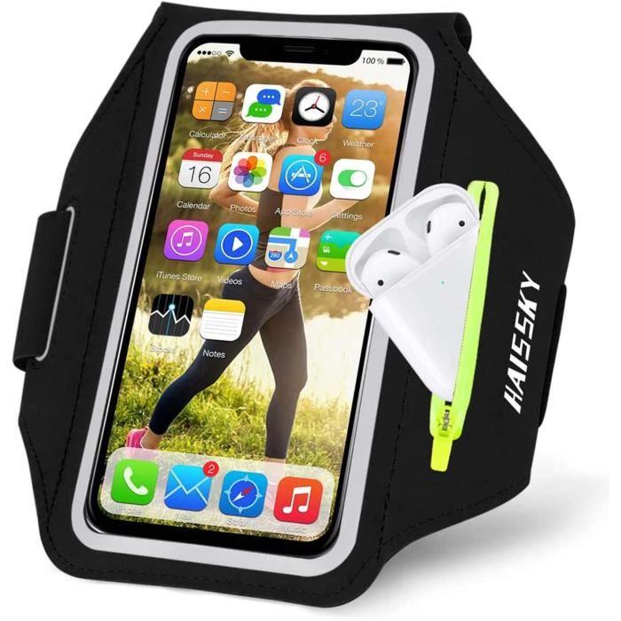 Brassard de Sport avec Airpods/clé de Voiture Poche Zippée, Brassard de téléphone Portable résistant à l'eau pour iPhone 11 Pro Max/