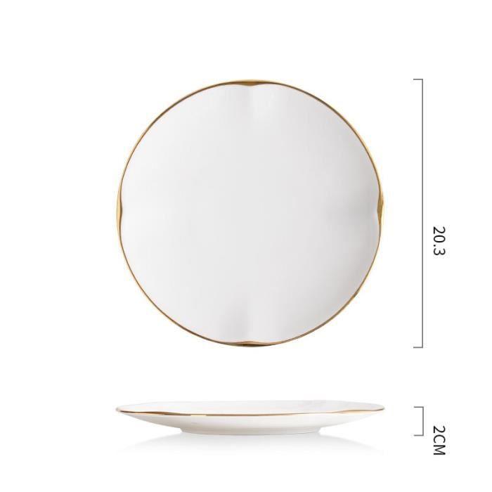 Assiette,Assiettes en céramique blanche dorée, assiette à dîner décorative en porcelaine, plats à Steak, pâtes, hôtel - Type A1