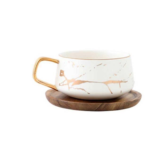Service à café avec soucoupes,Tasses à café en marbre mat, luxe, service à thé, eau, lait, ustensiles condensés, - Type White 320ML