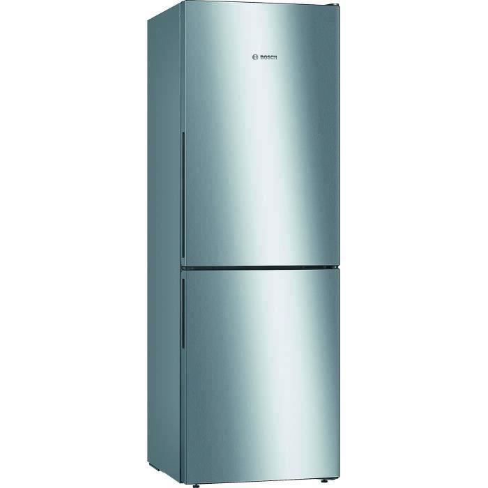 BOSCH KGV33VLEAS - Réfrigérateur congélateur bas - 288L (194+94) - Froid brassé - A++ - L 60cm x H 176cm - Inox