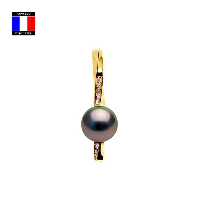 Compagnie Générale des Perles - Pendentif Diamants 0.08 Cts Véritable Perle de Tahiti Ronde 9-10 mm Or Jaune 18 Cts - Bijou Femme