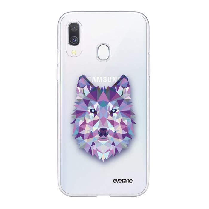 Coque Samsung Galaxy A20e 360 intégrale transparente Loup geometrique Ecriture Tendance Design Evetane
