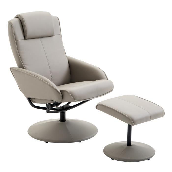 Fauteuil relax inclinable style contemporain avec repose-pieds simili cuir acier gris 71x78x101cm