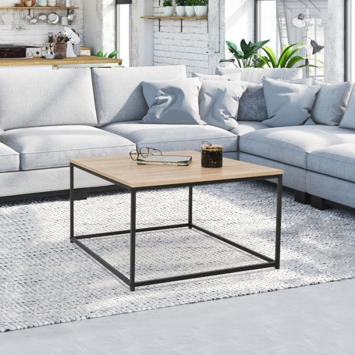 ID MARKET - Table basse carrée DETROIT design industriel