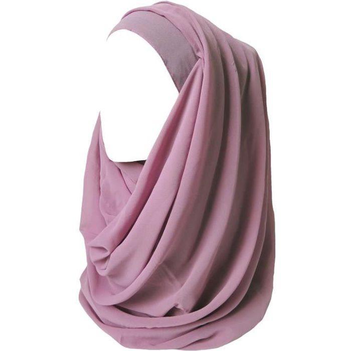 Maxi Hijab pour Femmes Foulard Écharpe Turban Châle Islamique, Mousseline Rectangle (Vieux Rose)