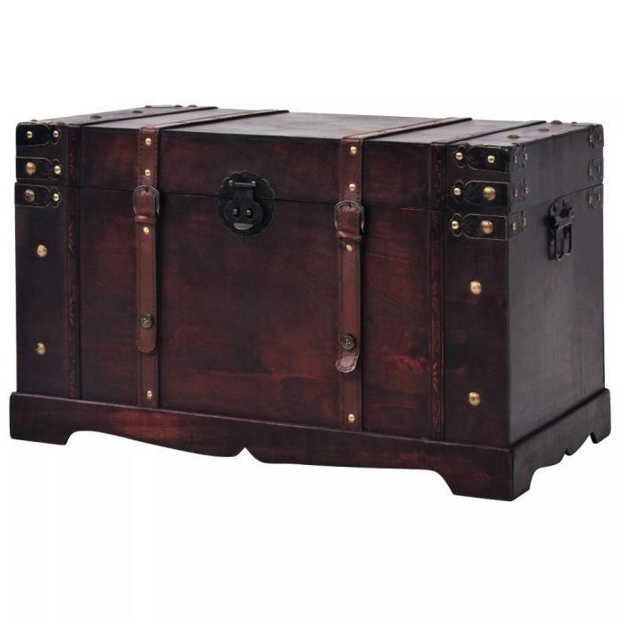 Coffre au Trésor Vintage Coffre de Rangement en Bois 66 x 38 x 40 cm