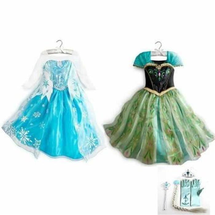 Kit Deux Robe Elsa et Anna Reine des Neiges+4 Accessoires