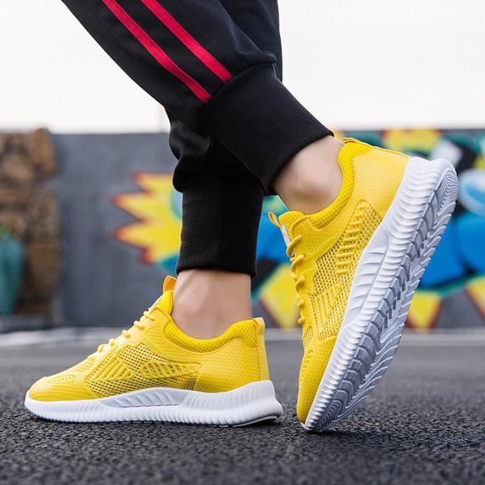 Baskets respirantes tissées pour hommes Chaussures de sport légères à la mode, chaussures de course Jaune