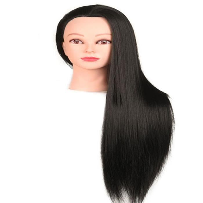 Tete a Coiffer, 66cm Tête de coiffure 100% de Cheveux Synthétiques Têtes d'exercice pour le Salon Coiffeur Poupée avec Support A27