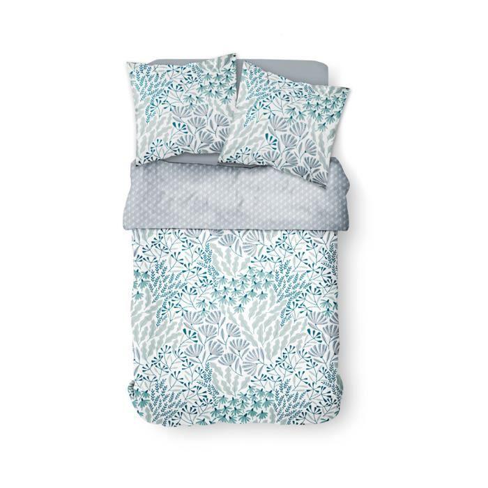 Parure de lit 2 personnes 220X240 Coton imprime blanc Floral SUNSHINE