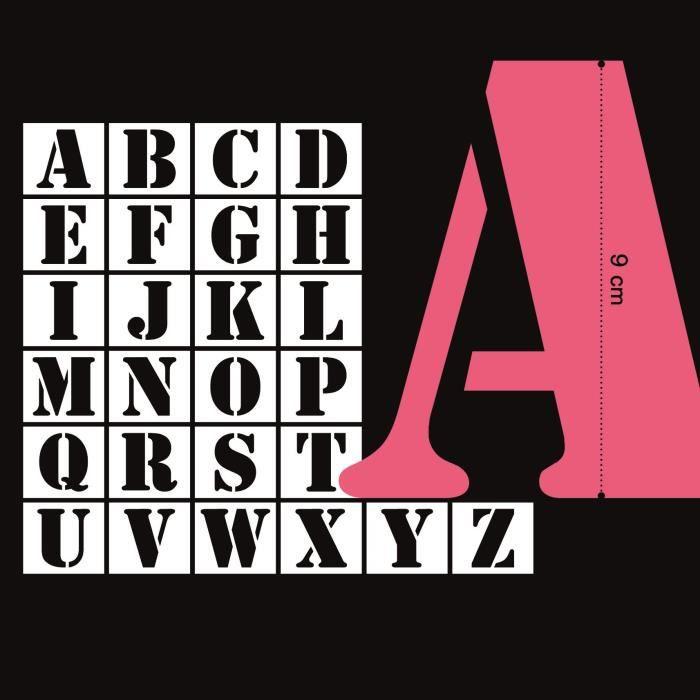 MAHÉ 26 Pochoirs Plastique Lettres 9 cm