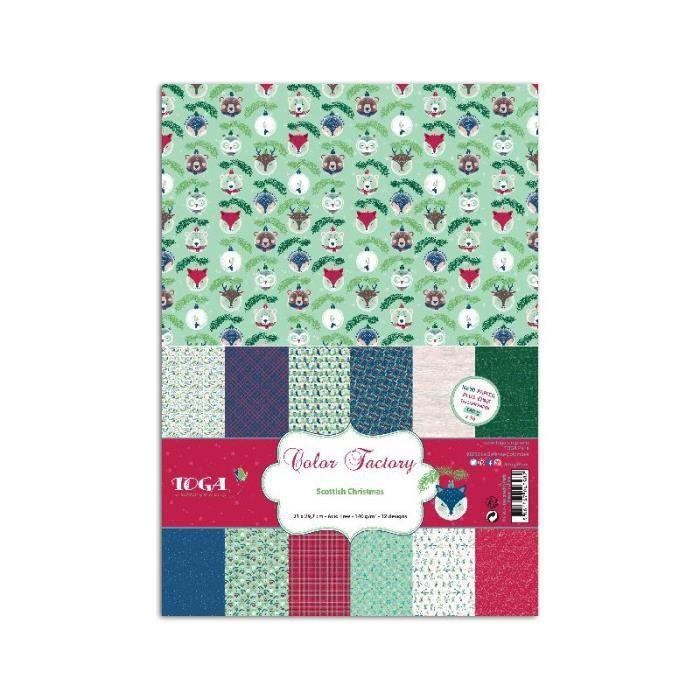 Assortiment de 36 papiers décorés A4 'Toga - Scottish Christmas '