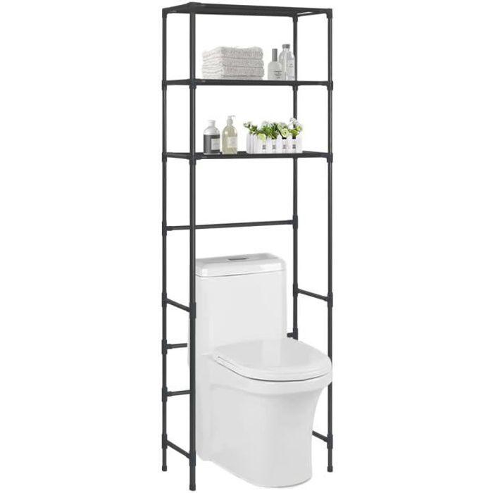 vidaXL Support de rangement de toilette à 3 niveaux Noir 53x28x169 cm