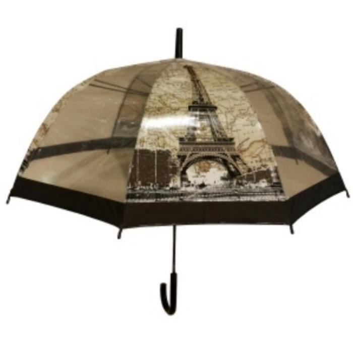 parapluie cloche transparent imprim paris motif la tour eiffel arc de triomphe noir noir. Black Bedroom Furniture Sets. Home Design Ideas