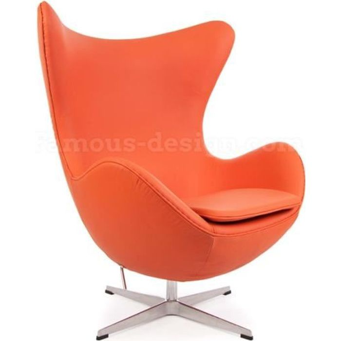 fauteuil egg arne jacobsen orange achat vente fauteuil orange cdiscount. Black Bedroom Furniture Sets. Home Design Ideas