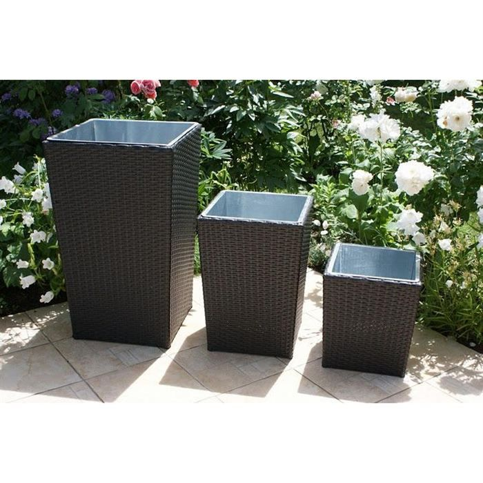 3 pots de jardin r sine tress e marron fonc achat vente jardini re pot fleur 3 pots de. Black Bedroom Furniture Sets. Home Design Ideas