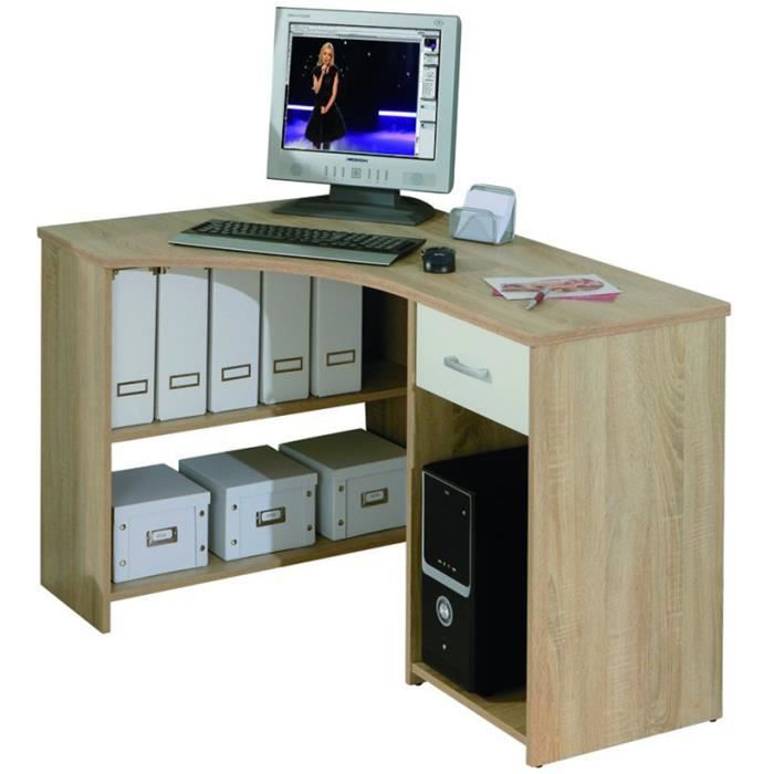 bureau d 39 angle avec 1 tiroir ch ne de sonoma dim 118 x. Black Bedroom Furniture Sets. Home Design Ideas