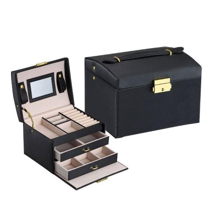 Boîte à Bijoux Coffret à Bijoux Noir 3 Plateaux 2 Tiroirs ...