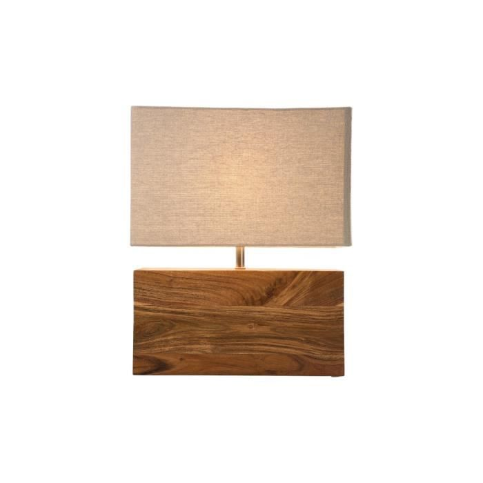 lampe de table en bois achat vente lampe de table en bois bois acier 100 coton cdiscount. Black Bedroom Furniture Sets. Home Design Ideas