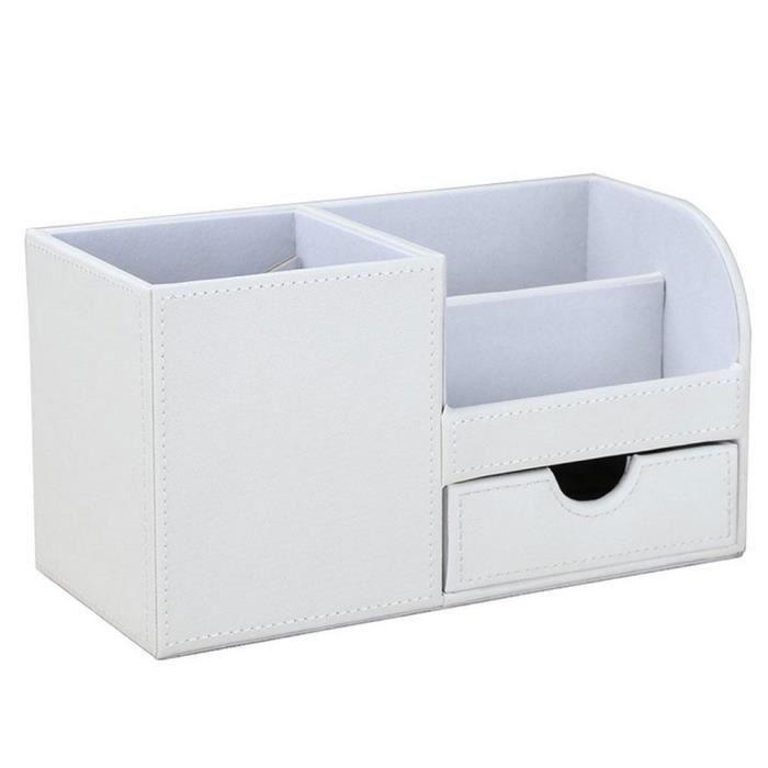 Efuture Boite De Rangement Pour Bureau En Cuir Organisateur Stylo Carnet Blanc