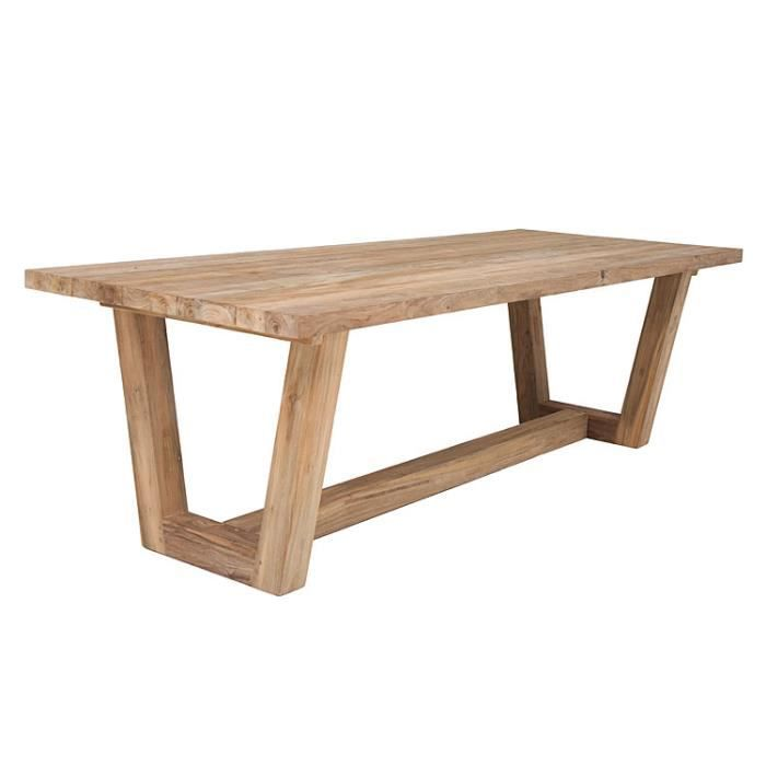 Table en teck massif recycl 250 x 100 cm granby achat - Table en teck recycle ...
