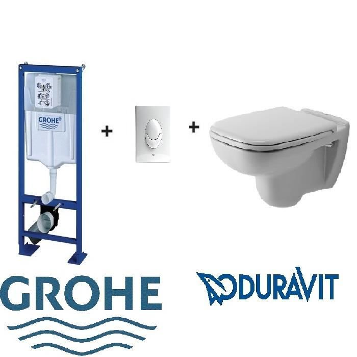 pack wc suspendu complet bati grohe sl plaque blanche. Black Bedroom Furniture Sets. Home Design Ideas