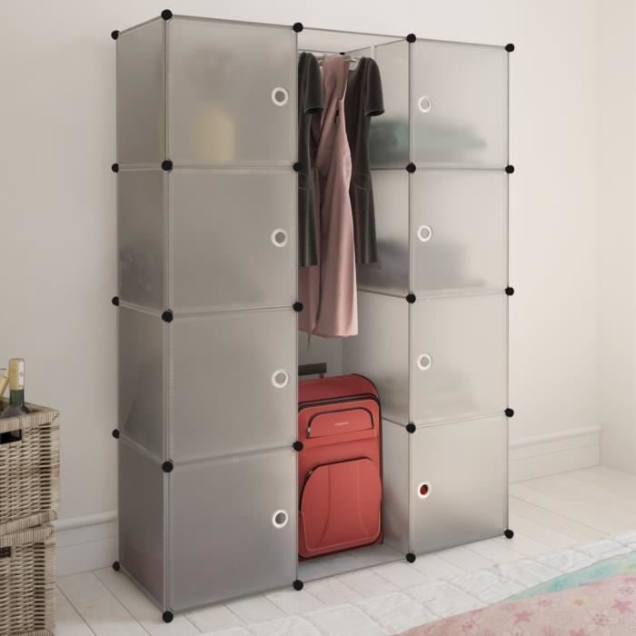cabinet modulable meuble pour er v tements et chaussures de chambre couloir ou salon avec 9. Black Bedroom Furniture Sets. Home Design Ideas