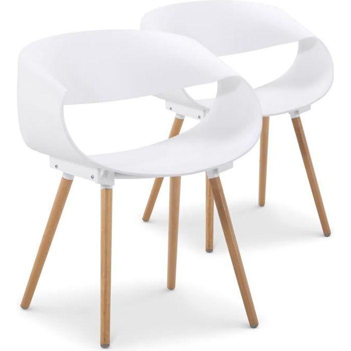 Lot De 2 Chaises Scandinaves Design Zenata Blanc Achat