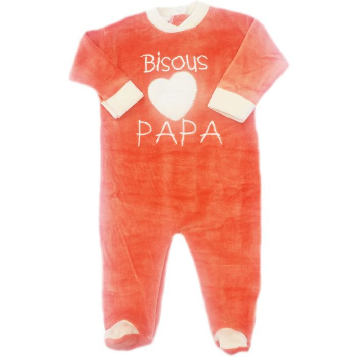 pyjama b b brod bisous pour papa coeur fdmp orange beige achat vente pyjama chemise. Black Bedroom Furniture Sets. Home Design Ideas