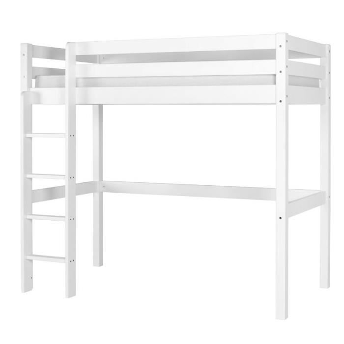 lit mezzanine wood 90x190 cm blanc achat vente lit. Black Bedroom Furniture Sets. Home Design Ideas