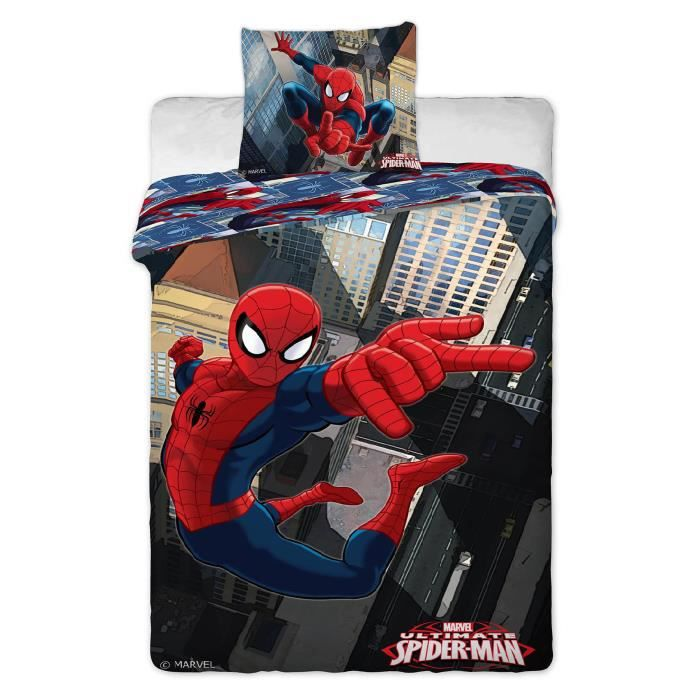 parure de lit spiderman. Black Bedroom Furniture Sets. Home Design Ideas