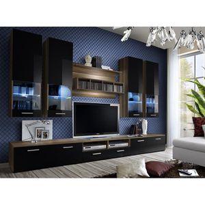 MEUBLE TV MURAL Ensemble meuble TV DORADE en prunier et noir de ha