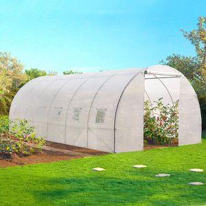 SERRE DE JARDINAGE Grande serre de jardin transparente 18 m² tunnel 7
